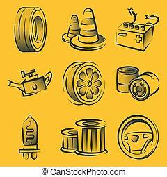 línea, elementos, conceptos, logotipo, infographic, moderno, transporte, trayectoria, tela, móvil, iconos, servicio, reparación, vector, apps., colección, pictogram., conjunto, coche, automóvil, abierto