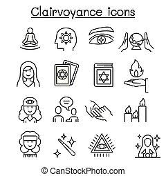 línea fina, icono, estilo, fortuna, conjunto, cajero, clarividencia