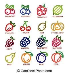 línea, fruta, icono, delgado