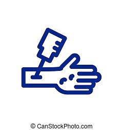 línea, grueso, mano, estilo, vacuna, icono, inyección
