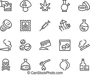 línea, iconos, drogas