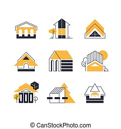 línea, icons., edificio, casa, geometría