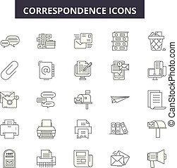 línea, móvil, signs., tela, correspondencia, contorno, golpe, ilustraciones, editable, iconos, concepto, design.