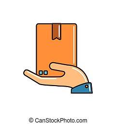 línea, mano, caja de cartón, relleno, tenencia, entrega, carga