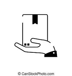 línea, mano, caja de cartón, tenencia, entrega, estilo, carga, icono