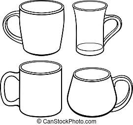 línea, mano, dibujo, tazas, conjunto, shapes., templates., jarras, coloring., diferente, outline., drawing., té