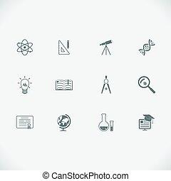 línea, moderno, educación, aprendizaje, iconos