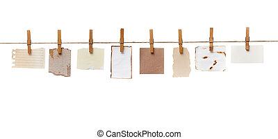 línea, papel, soga, clavija, ropa, nota