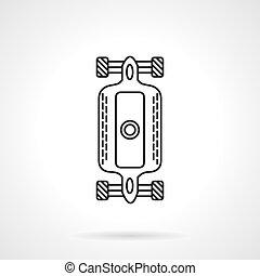 Línea plana de Longboard icono vector vectorial