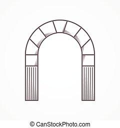 línea plana, diseño, arco redondo