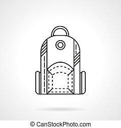 Línea plana diseño de mochilas icono vector vectorial
