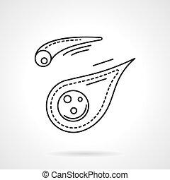 Línea plana diseño meteoritos vector icono