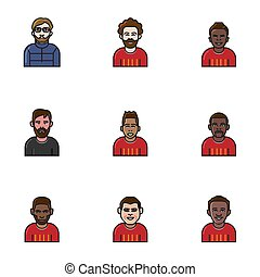línea plana, equipo, avatar, fútbol, icon.