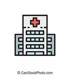 línea, plano, clínica médica, edificio, icon., hospital, color