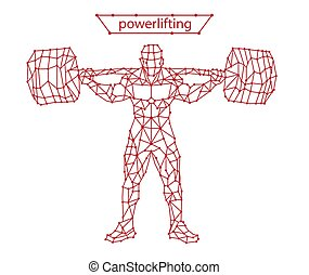 línea, powerlifting, vector, powerlifting, moderno, ilustración, estilizado, silueta, movimiento