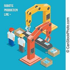 línea, producción, robótico