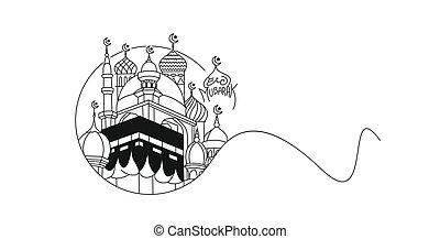 línea, vector, arabia, santo, mecca, arte, plano, saudí, kaaba, illustration.