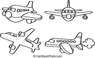 línea, vector, arte, ilustración, avión, caricatura
