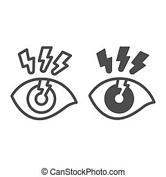línea, vector, contorno, concepto, concepto, sólido, estilo, luz, dolor, relámpago, tela, icono, officesyndrome, plano de fondo, blanco, ojo, design., graphics., brillante, móvil, ojo, humano, señal