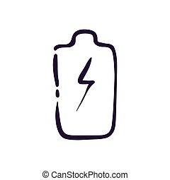 línea, vector, plano de fondo, blanco, ilustración, batería, icono