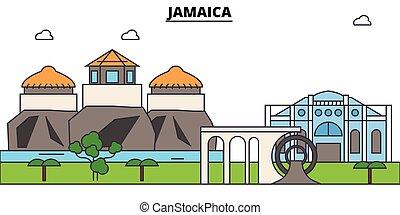 Líneas aéreas de Jamaica, jamaicianos de delgada línea iconos, puntos de referencia, ilustraciones. Jamaica Cityscape, Jamaicana vector de la ciudad. Silueta urbana