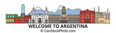 Líneas argentinas de horizonte, iconos planos argentinos, puntos de referencia, ilustraciones. Escape de Argentina, vector de viaje argentino. Silueta urbana