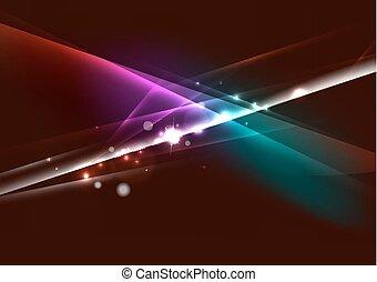 Líneas de color abstractos que brillan en el espacio oscuro con estrellas y efectos de la luz
