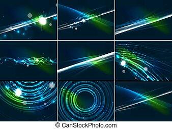 Líneas de color abstractos y brillantes en el espacio oscuro con estrellas y efectos de luz ambientados