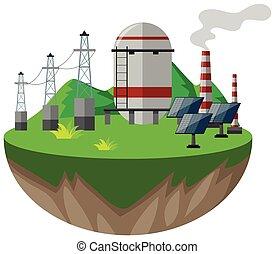 Líneas de energía y células solares