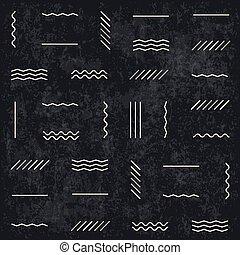 Líneas geométricas sin estructura en el fondo texturado oscuro. Estilo retro monocromo. Capas texturadas fáciles de editar