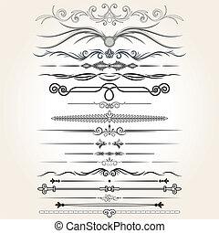 Líneas reglamentarias decorativas. Elementos de diseño del vector