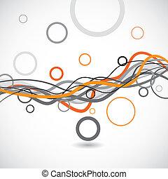 Líneas vectores y círculos de fondo abstracto
