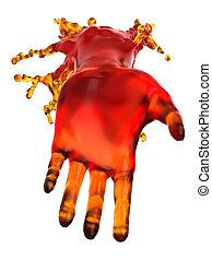 líquido, prestar, aislado, porción, forma, rojo, hand: