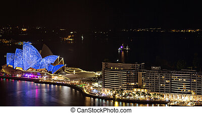 La ópera de Sydney por la noche