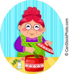 La abuela está cocinando