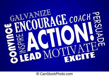 La acción anima a motivar a inspirar collage de palabra de entrenador principal