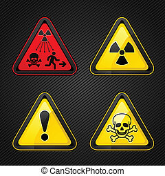 La advertencia de peligro puso símbolos de atención