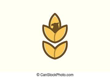 La agricultura de granos de trigo y el logo de águila diseño inspiración
