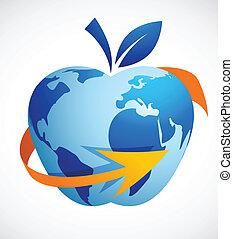 La aldea global - la tecnología de la manzana abstracta