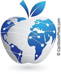 La aldea global, la tecnología de la manzana abstracta
