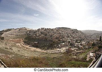La aldea palestina en Jerusalén Este en Israel