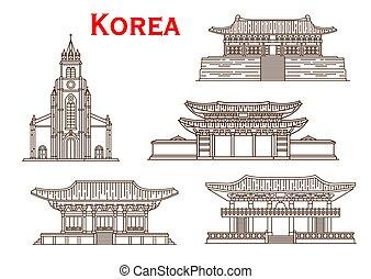 La arquitectura de Corea enfrenta vectores de iconos de delgada línea