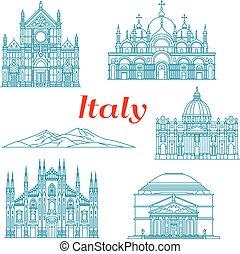 La arquitectura y la naturaleza viajan por lugares de Italia