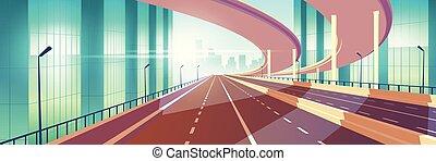 La autopista vacía de la ciudad moderna, vector de caricatura de empalme