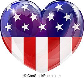 La bandera americana adora el corazón