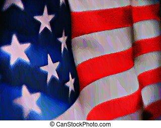 La bandera americana en el color del agua
