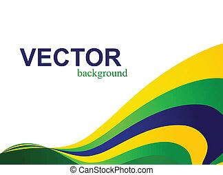 La bandera de Brasil concepto creativa onda colorida aislada en el fondo blanco