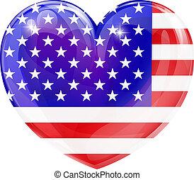 La bandera de EE.UU. adora el corazón