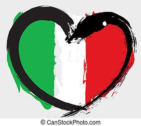La bandera de Italia grunge