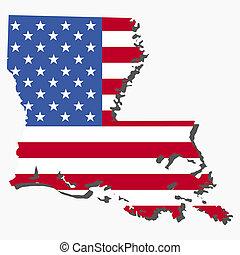 La bandera de los mapas de Luisiana